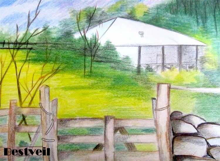 عکس نقاشی منظره با مداد رنگی